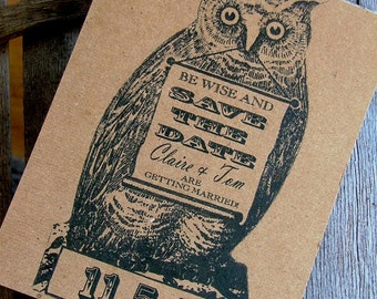 Cool Save the date cards Owl postcards