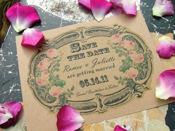 save the date cards Wedding Invitation Vintage Perfume label