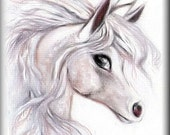 ACEO - Unicorn - LE Print - Fantasy Art Card - 2.5 x 3.5 inch  - Limited Edition - Magickal Pony - Horse - Equine picture mini art