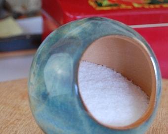 Salt Pig or Salt Cellar Unglazed on the Inside in Slate Blue- Made to Order