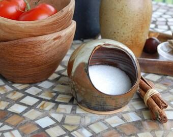 Salt Pig or Salt Cellar In Brownstone - Made to Order