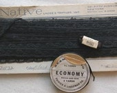Antique Vintage Native Laces and Textiles Black Lace Trim, and Poirier and Lindeman Co and Kimball Co Ribbons in Original Packaging