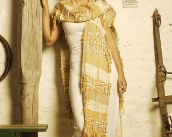 RUANA - poncho coat wrap shawl - handwoven - gold/cream - Ready to ship!