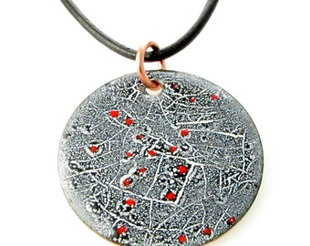 Pendant Red Constellation Round Glossy Black on White Vitreous enameled copper disk Scraffito Crackled