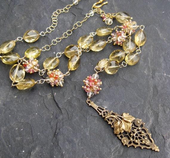Gold gemstone beaded necklace in 14k gold fill - lemon quartz, oro verde, plum spinel - champagne - Edwardian - Victorian bridal jewelry