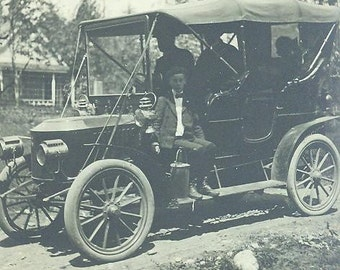 Ford Model T, White Star, Wayne, or Thomas Flyer Early Touring Car with Big Wooden Wheels, Big Headlamps, Big Canopy