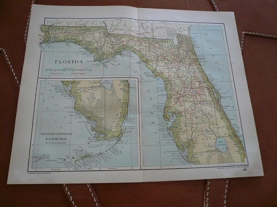 1891 Florida State Map with Census Data