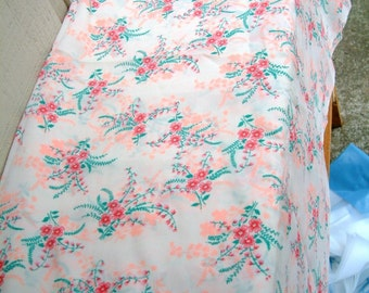 Vintage 1970's Fabric Silky Pink Floral Fabric in Bright Pink Peach Pink Green White Vintage 1940's Style Fabric Silky Fabric Dress Fabric