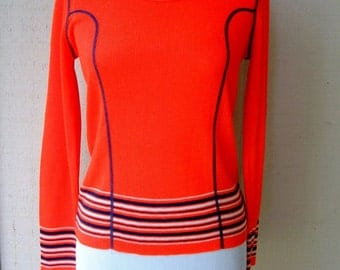 Vintage 1960's Women's Sweater Top Nautical Red and Navy Knit Top with Stripes Scandinavian Swedish Mod Style Nordic Top Ski Top Slope
