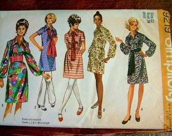 Vintage 1960's Mod Dress Pattern Vintage 1970's Mod Mid Century Womens Retro Simplicity Shirt Dress Pattern Size 12