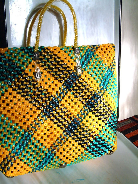 Vintage 1960s Beach Tote Bag Purse in Woven Plastic Plaid Basket Style, great for Summer in yellow, black and green ON SALE was 26.29