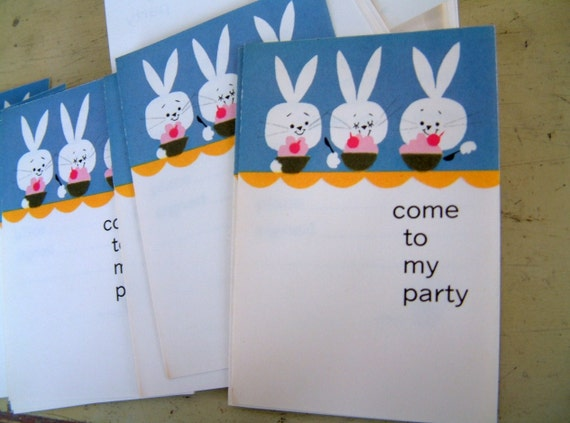 Vintage 1960s Party Invitations Retro Mod Bunny Rabbit Party Invites Vintage Invitation Cards for Childrens Party