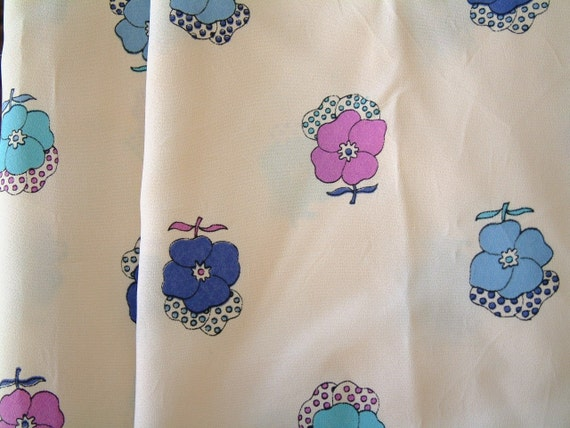 Vintage 1960's Fabric Faux Silk Fabric Mod Floral Fabric Art Deco Floral Fabric Vintage Large Flower Print Polyester Fabric Blue Lilac White