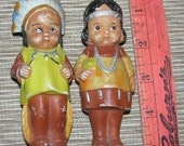 Vintage 1940's Indian Bisque Doll Figurines, Reminds me of Kewpie Dolls,  American Indian, Made in Japan, Antique, classic 40s Collectible
