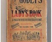 1890 Godey's Victorian Lady Book, December No 726. Vol. CXXI, Colored Fashion Plates, Illustrations, Church Decorations, Foreign Gossip, Thi