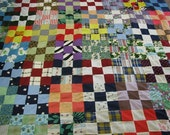 Vintage 1960's Nine Patch Quilt, Unfinished Patchwork Quilt Top, Retro 60's Arts & Crafts Fabrics, Americana, Primitive, Hand Quilted Texana