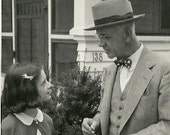 Black and White Photograph Vintage 1940's Father, Daughter, Suit, Bow Tie, Family photo, Midcentury photography Dad Teenager,  American Girl