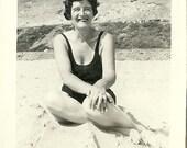 Black and White Photograph Vintage 1950's Mature Lady, Galveston Gal, Texana, Swimwear, MidCentury, Seashore, Texan Vacation Retro Photo 36D