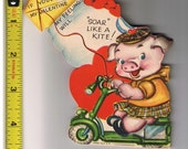 Vintage Valentine Card, Greeting, If you'll be my Valentine my Feelings will Soar Like a Kite, Piglet, Pig, Bike 67c
