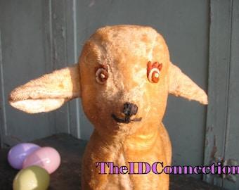 Easter Lamb, Stuffed Animal, BanTam U.S. Toys, Antique Toys Retro 40's collectible Made in USA nostalgic Americana Lamb-chop, Chenille