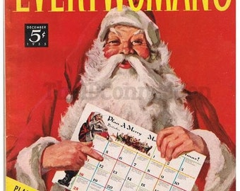 1955 Every Womans Magazine, Santa Claus, Lucky Strike, Cotton Buds, Christmas Cookies, Graphics, perfect for collage, mixed media, art, fram
