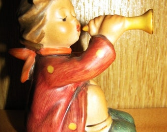 Hummel, 1968 Vintage Child Playing a Trumpet, Goebel West Germany, Pattern 391, Musical Instrument, Home Decor Figurine