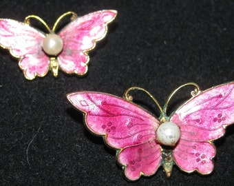 Vintage 1980's Costume Jewelry Butterfly Pins, Pink Enamel retro 80's Butterflies, Pearls, Hot Pink, delicate feminine fashion style design