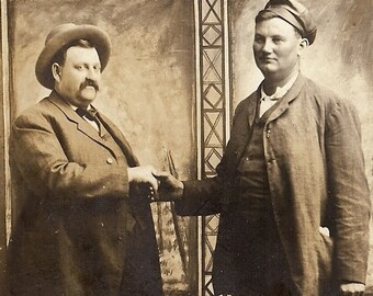 Vintage 1900's Antique Photo Postcard, Let's Shake on it, Lets make a Deal, It's a Deal, Men Shaking Hands retro Photo American Businessmen