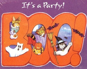 Party Invitations Halloween Party Note Cards, Ghost, Goblins, Witch, Pumpkin, Jacko Lantern, It's a Party 8 cards