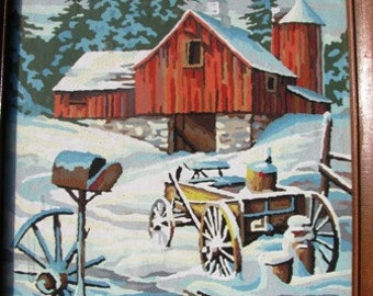 Vintage 1960's Paint by Number Winter Red Barn, Snow, Wagon, Post Office Box, Country Farm Retro 60's Painting hand painted Folk Art unique