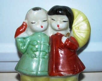 Vintage Porcelain Asian Boy & Girl Figurine, Umbrella, Couple. Lovers 73G