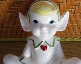 Christmas Elf Planter or Vase Holiday Decor Pixie Gnome Heart Sweet Little Elf Retro 60's X-Mas nostalgia figurine White Elf Flower Pot