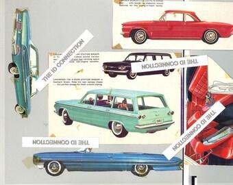 Classic Cars 1960's Vintage Car Pictures, Chevy Corvair Station Wagon  Buick,  Pictures, Car Prints, Autos Antique Car artwork  LOT 4