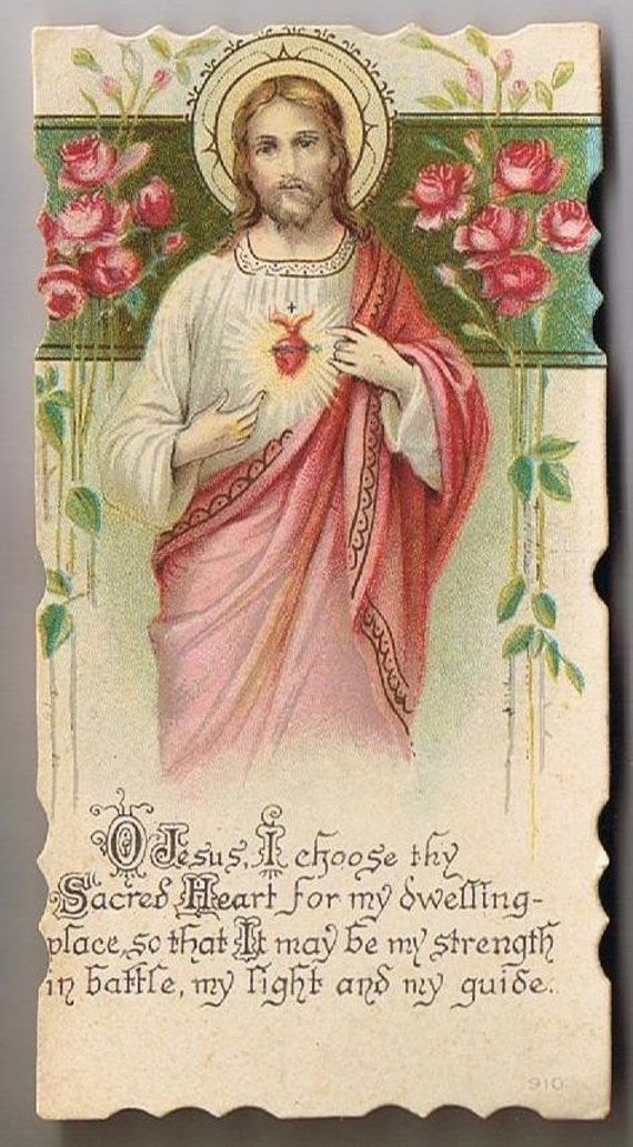 Vintage Holy Prayer Cards, At the host of the crib is sheltered the sweet flower of modesty, Jesus, Holy Father, Lot 90