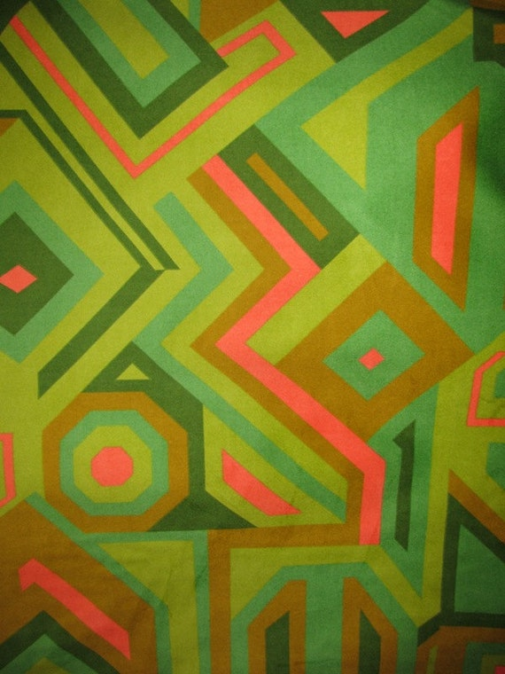 1960's or 70's Abstract Retro, Funkadelic Valore like Fabric, Oranges, Avacado Greens, Dark Green, Tans, Pillows, Curtains and more 1 yard