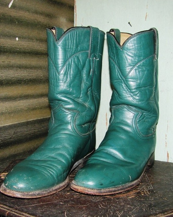 Vintage Justin Boots, Green, Size 7, Men or Womens Boots, Perfect for the upcoming Fall Season, Square Dance, Hoe Down