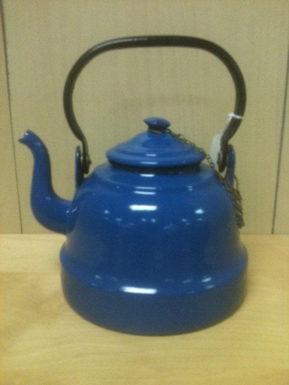 Polish  Enamelware Coffee Pot  Tea pot 1940's vintage  Blue Java Pot made in Poland retro 40 from Zanesville, Ohio 57e