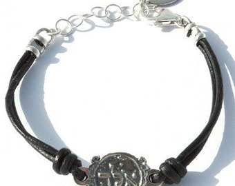 "Black Leather Kabbalah ""ALD"" Protection Bracelet"