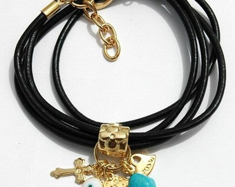 Cross Leather Lucky Charms Bracelet in Turquoise