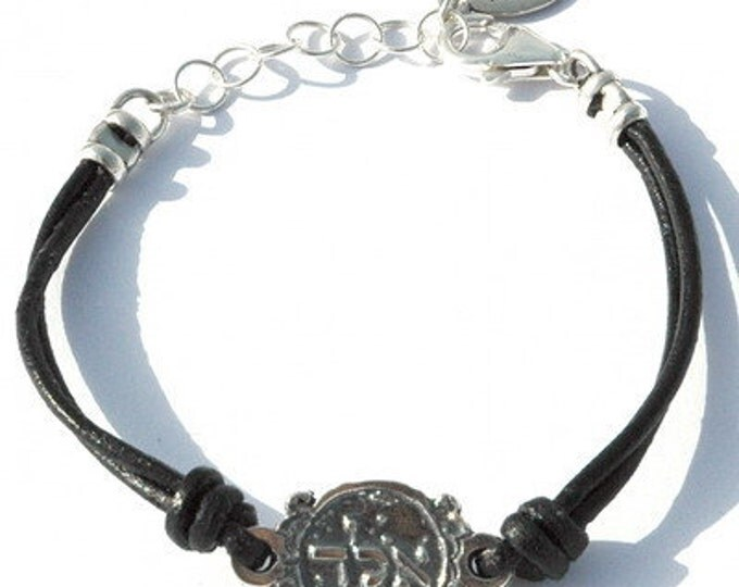 "Black Leather Kabbalah ""ALD"" Protection Bracelet"