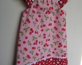 Sale size 2T/3T Cherry Dress Polka Dots and ruffle Sleeves