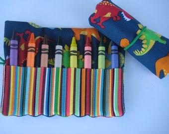 Crayon Roll Wallet Dinosaur Includes 8 Crayons