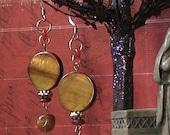 Carmilla's Coffin- natural stone Tigers eye and red horn Dangle Earthy fashion Bohemian handmade Earrings