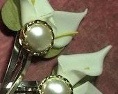 Paulette-Calla Lily Glamor  White and Gold Wedding Bridal hair Wear Flower  Barrettes