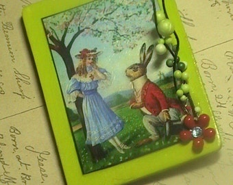 The Proposal - mixed media collage wooden anthropomorphic magnet