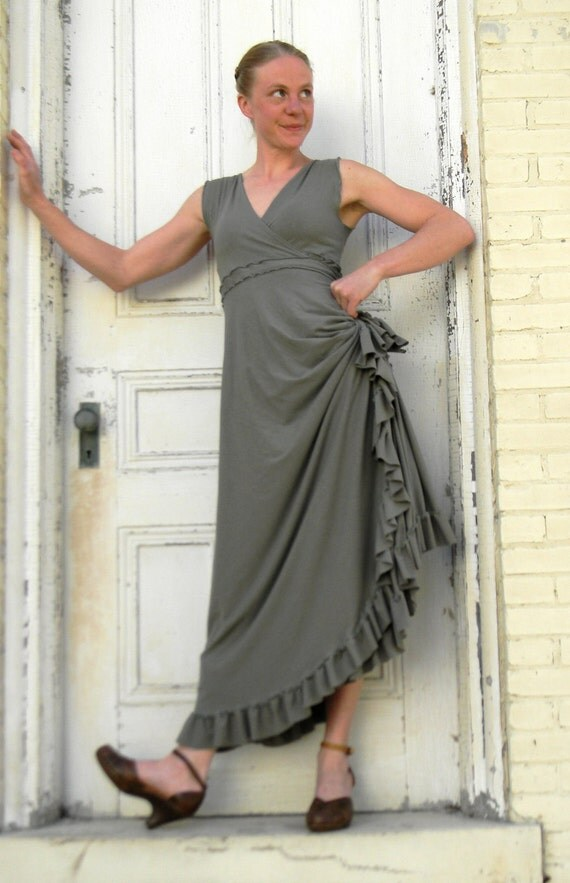 Josephine ~ Ruffled Wrap Dress ~ Organic Cotton Blend ~ Made to Order