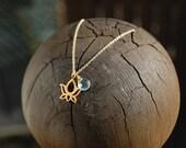 Mini Lotus necklace- acquamarine