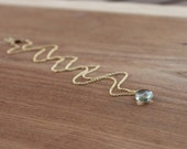 DAINTY Green Amethyst and Gold Filled Necklace by Yania Creations