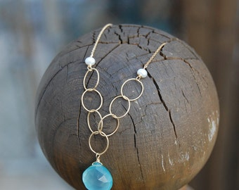 Heart of the Sea- Blue Chalcedony, pearl and gold filled