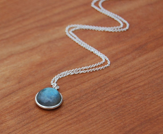 Labradorite Circle and Sterling Silver Necklace